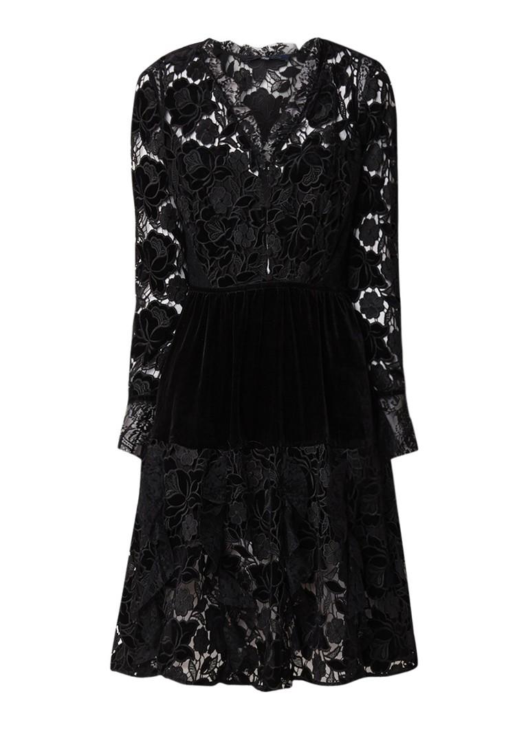 French Connection Cynthia A-lijn midi-jurk van kant en fluweel zwart