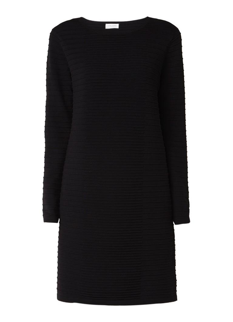 Gerry Weber Midi-jurk met ingebreide streepstructuur zwart