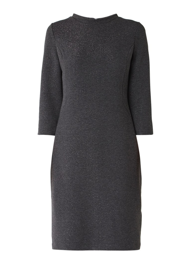 Gerry Weber Ribgebreide midi-jurk met lurex antraciet