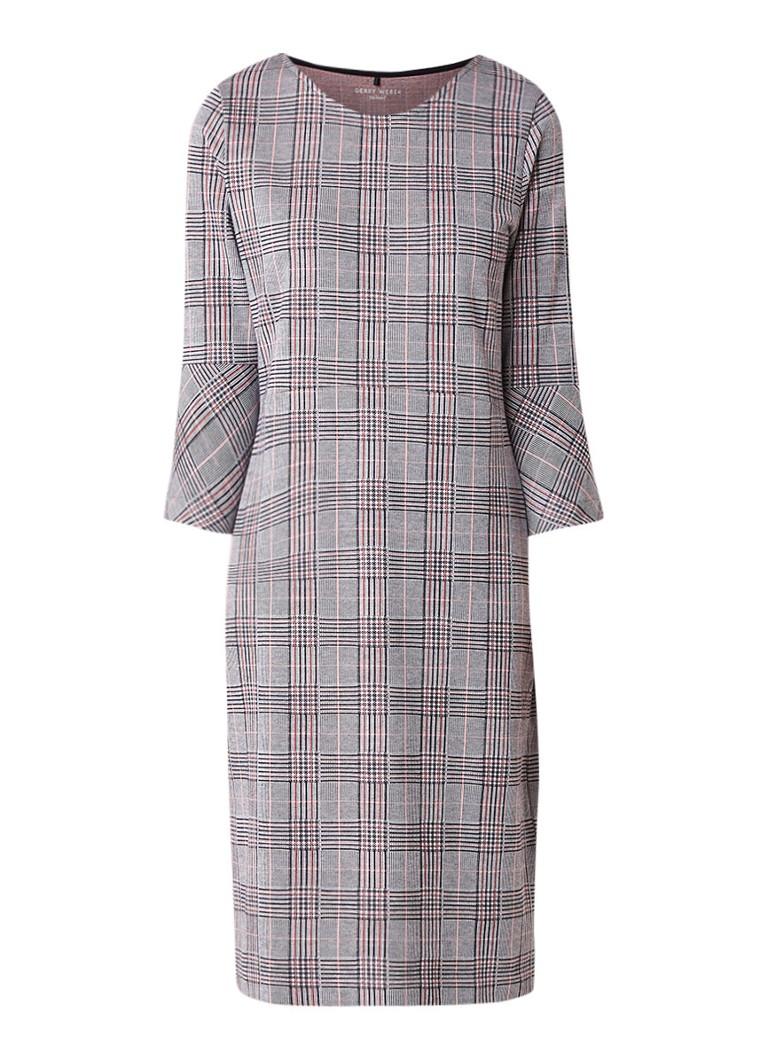 Gerry Weber Fijngebreide midi-jurk met geruit dessin grijs