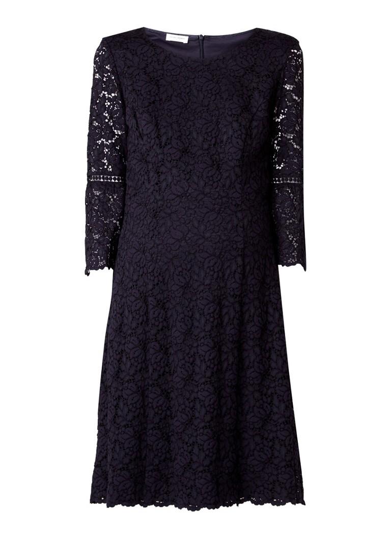 Gerry Weber Midi-jurk van kant met ronde hals donkerblauw