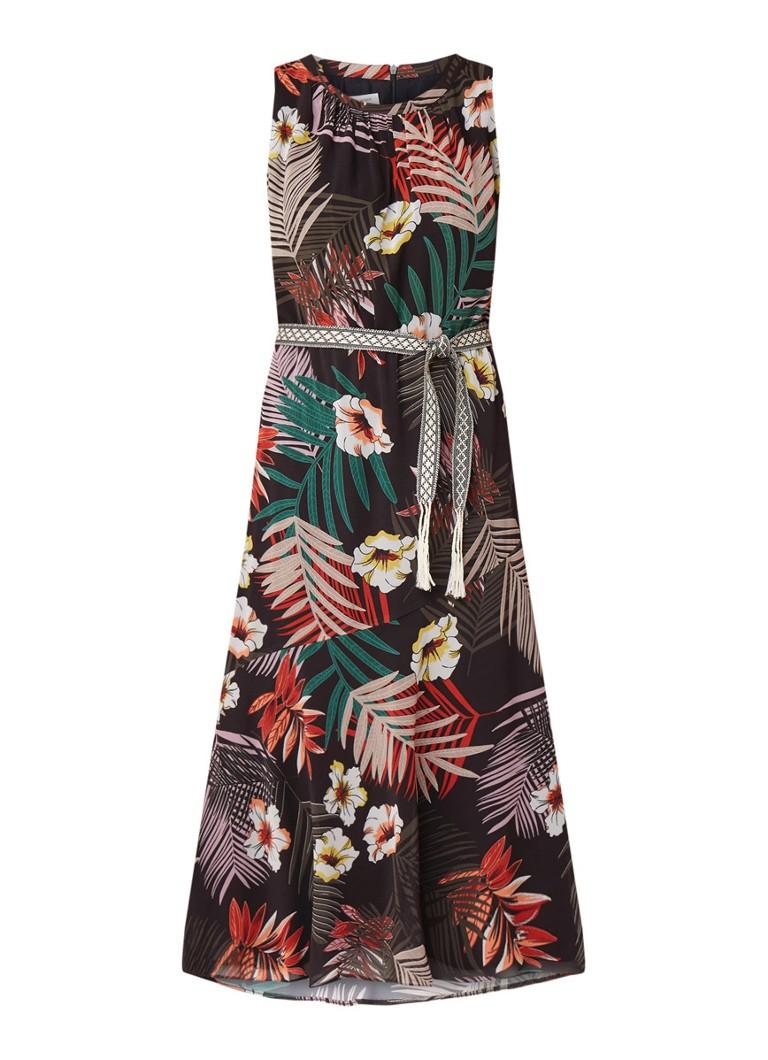Gerry Weber Mouwloze maxi-jurk met strikceintuur en bloemendessin zwart
