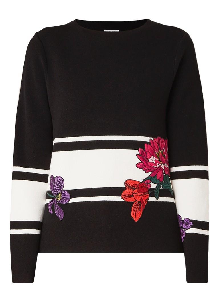 Gerry Weber Fijngebreide pullover met geborduurde bloemen en streepdetail