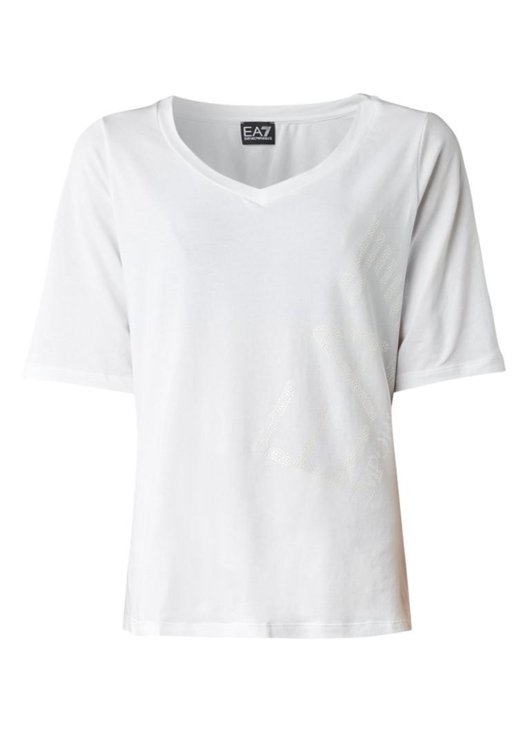 Armani T-shirt met logoprint van strass