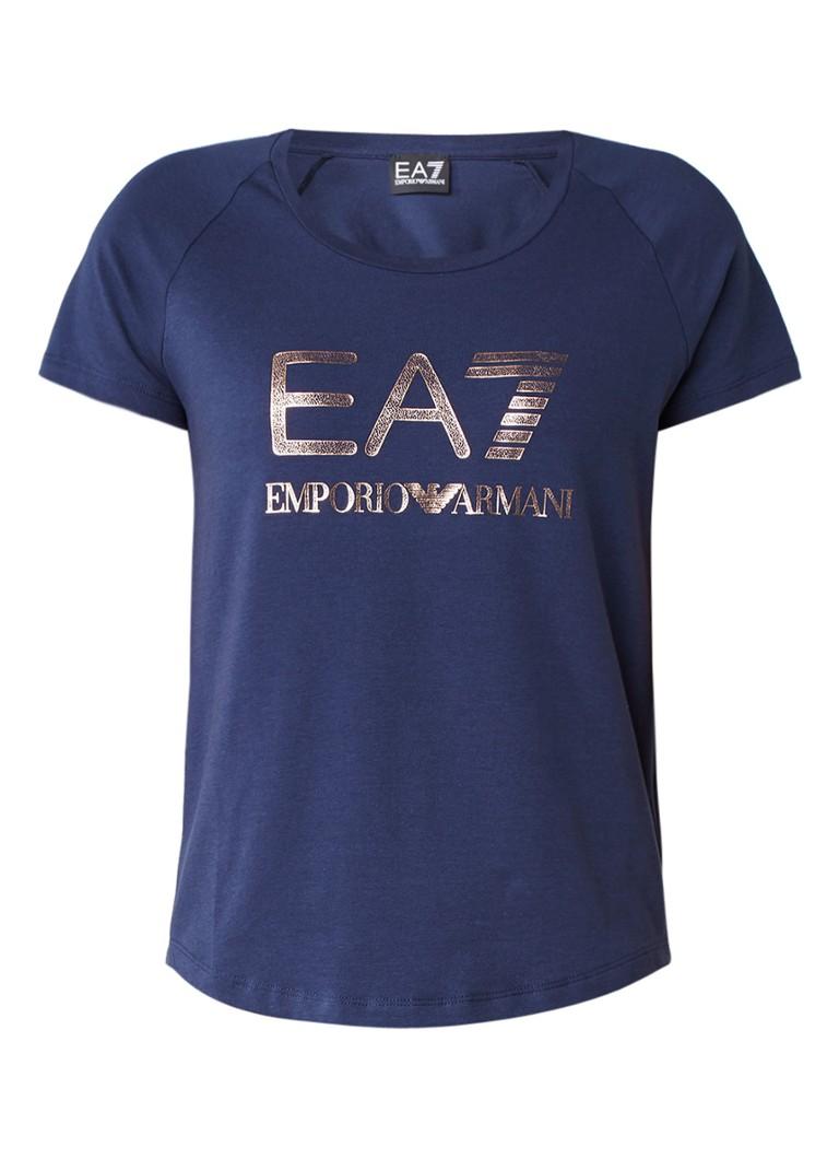 Armani Trainings T-shirt met metallic logoprint