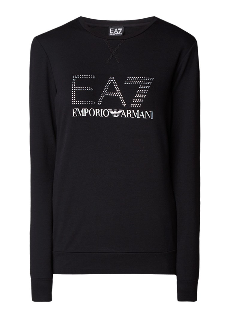 Armani Sweater met logoprint en strass