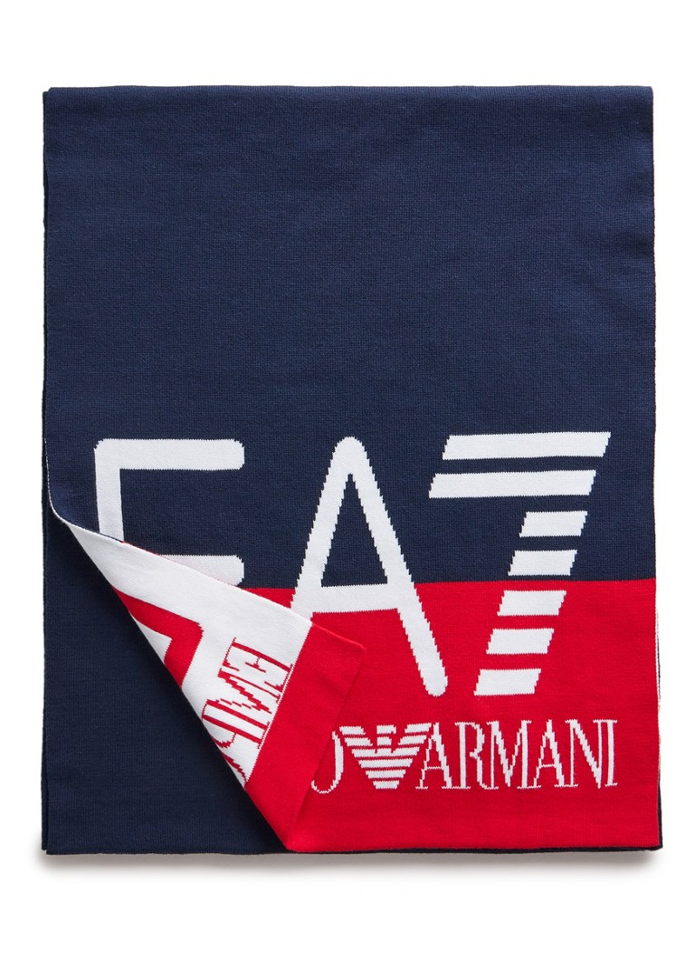 Image of Armani Fijngebreide sjaal van katoen met logo 180 - 35 cm