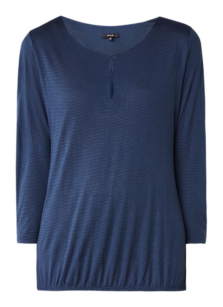 Tops Opus Saskia top van jersey met keyhole en driekwartsmouw Middenblauw