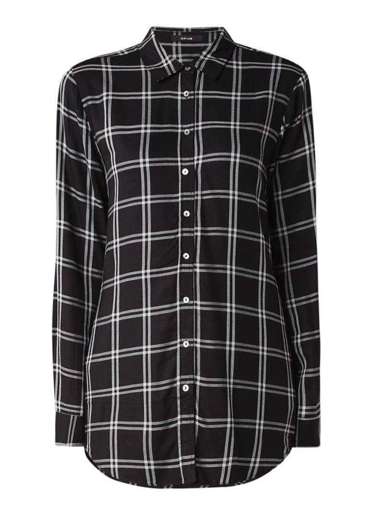 Opus Fabina blouse met ruitdessin