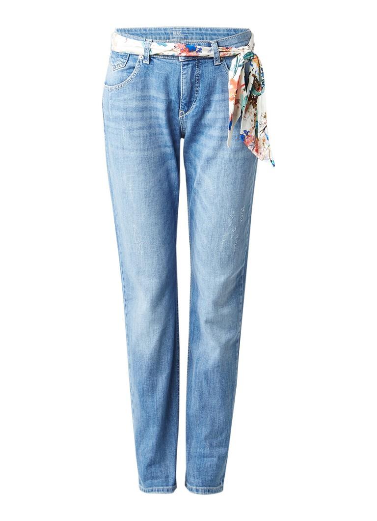 MAC Girlfriend jeans met medium wassing en sjaal