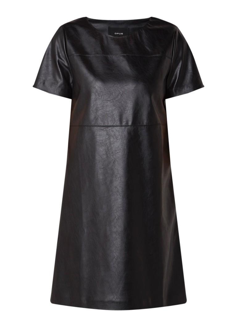 Opus Wasine mini-jurk van imitatieleer zwart