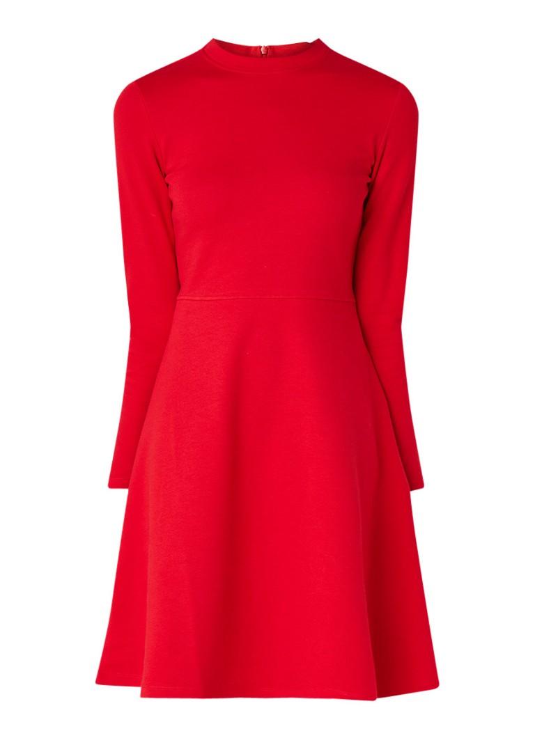 Opus Wonita fijngebreide A-lijn jurk in katoenblend rood