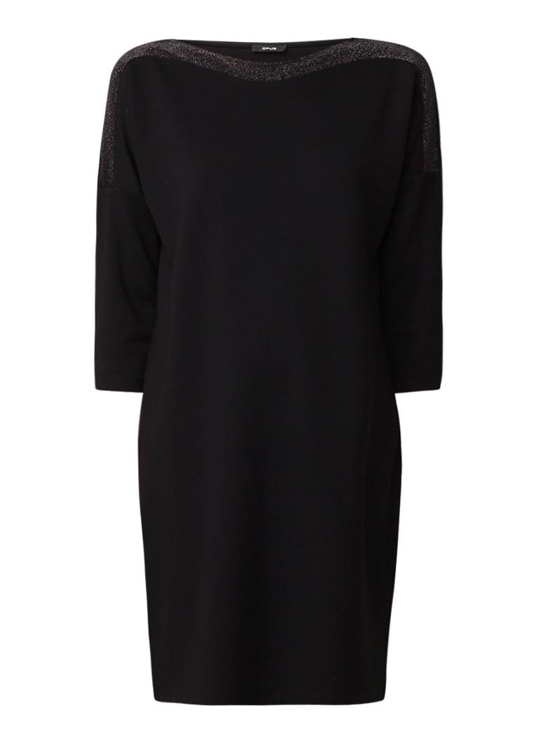 Opus Jersey jurk met glitter detail zwart