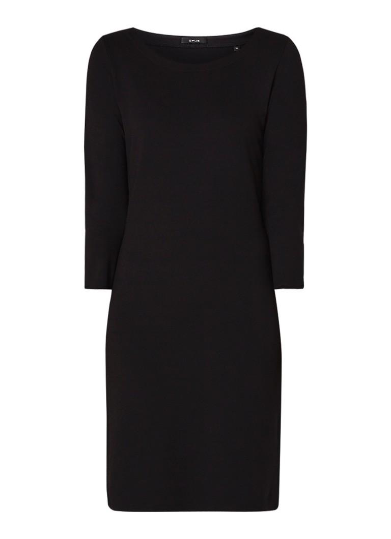 Opus Wonka loose fit jurk van jersey met contrastbies zwart