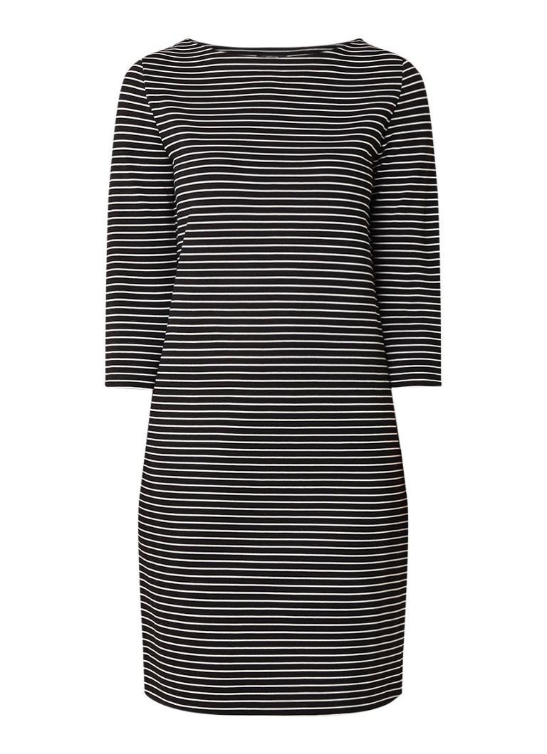 Opus Watrin jersey jurk met streepdessin zwart