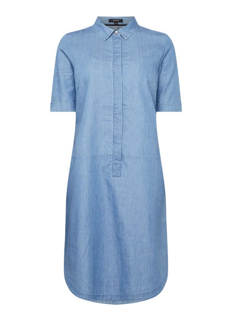 Opus Willmari denim blousejurk met blinde knoopsluiting indigo