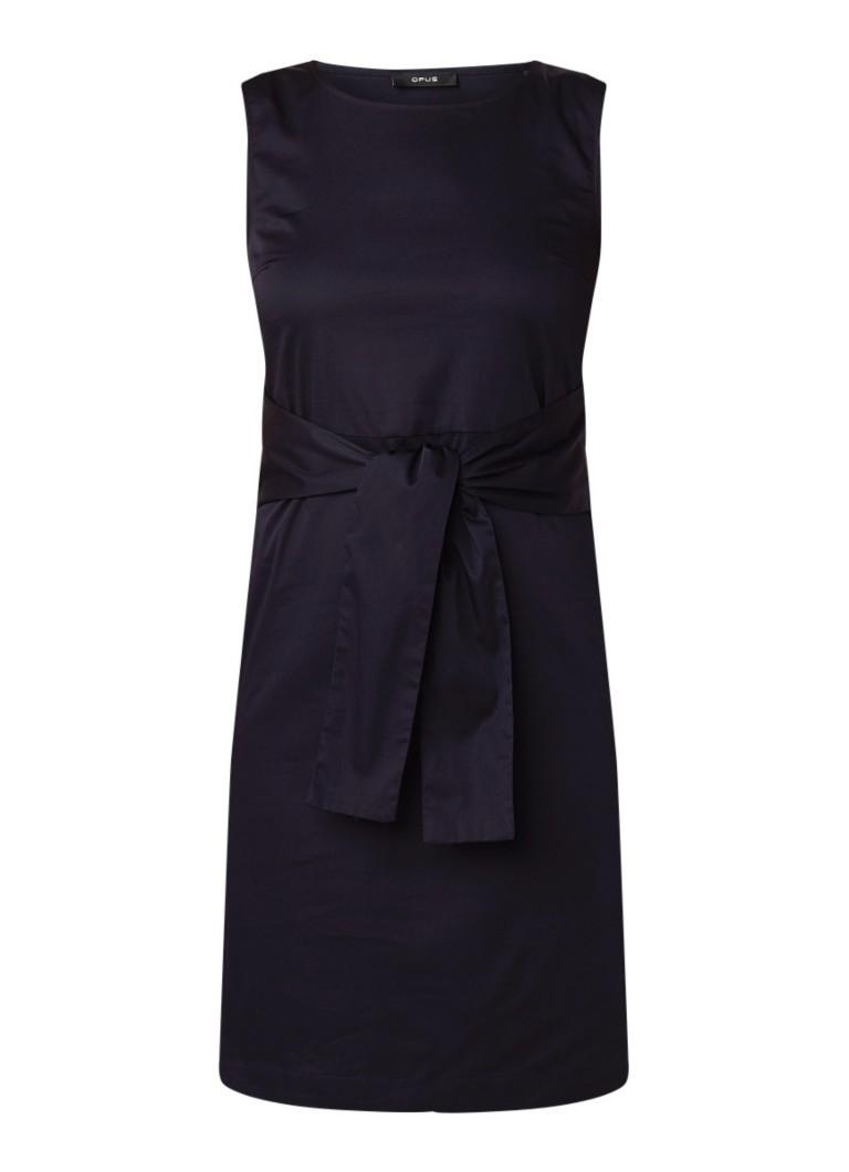 Opus Welia mouwloze midi-jurk met striksluiting donkerblauw