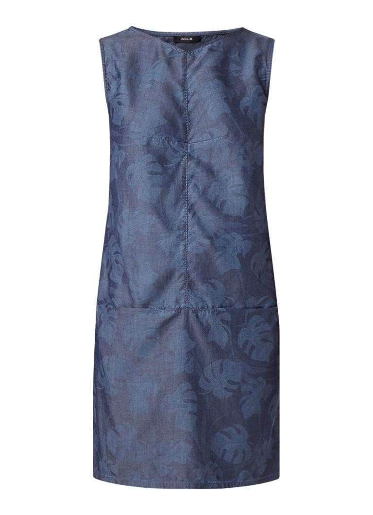Opus Weronie tuniekjurk van chambray met bladdessin blauw