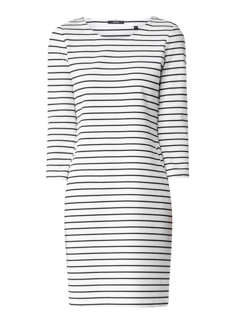 Opus Weda gestreepte jersey jurk