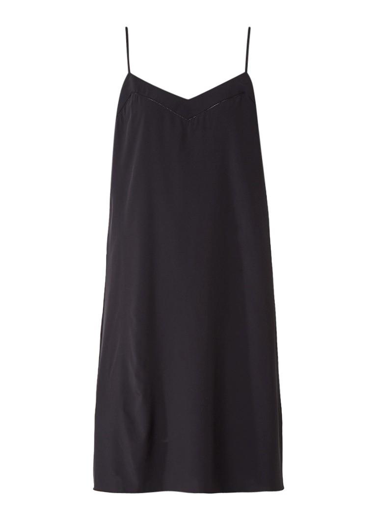 Opus Welda jurk met opengewerkt detail zwart