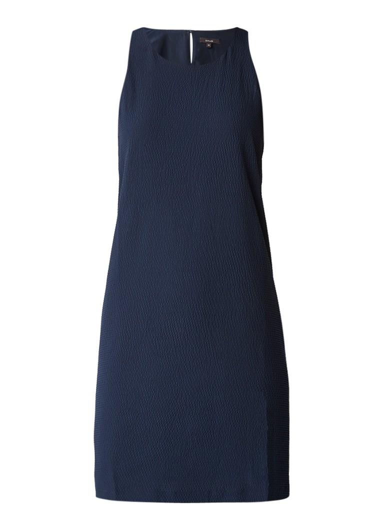 Opus Weria tuniekjurk met structuur donkerblauw