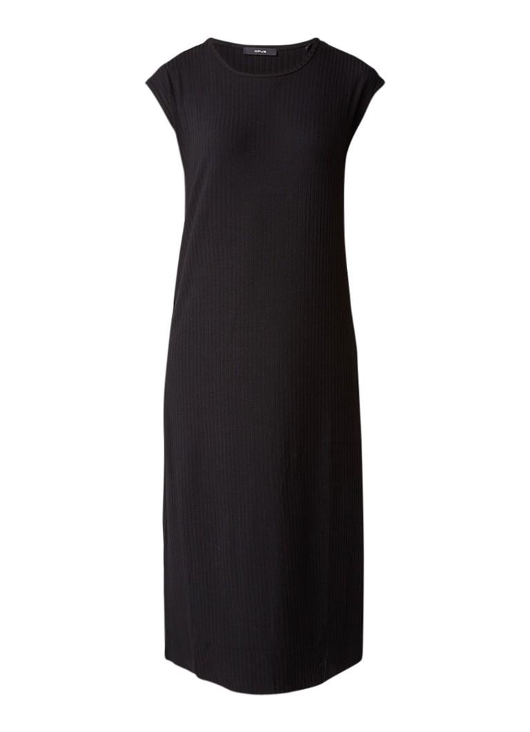 Opus Winston maxi-jurk van ribjersey zwart