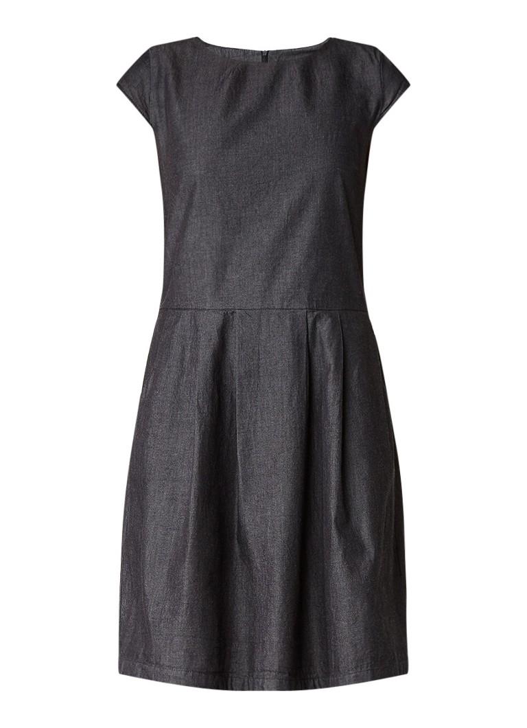 Opus Wolantha A-lijn midi-jurk met denim look antraciet