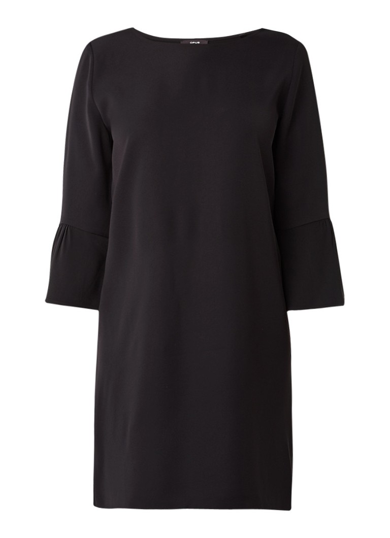Opus Winy midi-jurk met trompetmouw zwart