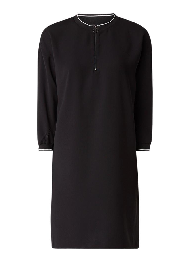 Opus Wendila tuniekjurk met ribgebreide boorden zwart