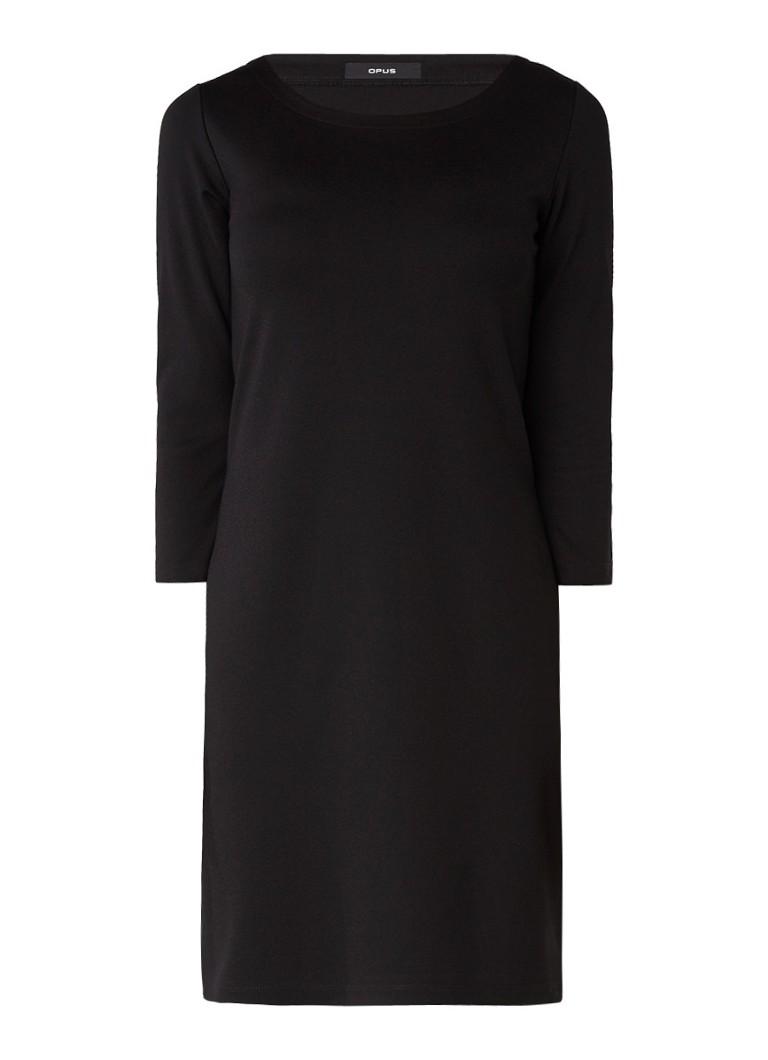 Opus Wonka jurk met ronde hals en driekwartmouw zwart
