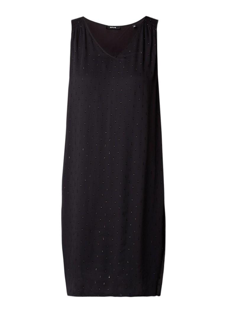 Opus Wanis A-lijn jurk met lurex dessin zwart