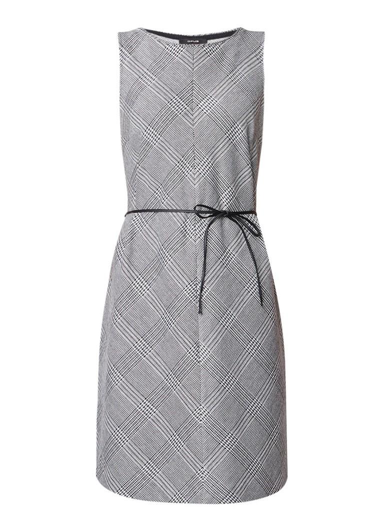 Opus Wilmod jurk met pied-de-poule dessin en ceintuur zwart