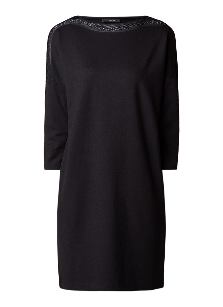 Opus Willis loose fit jurk met inzet van kant zwart