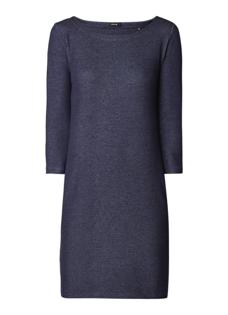 Opus Wonka jurk van jersey met denimlook donkerblauw