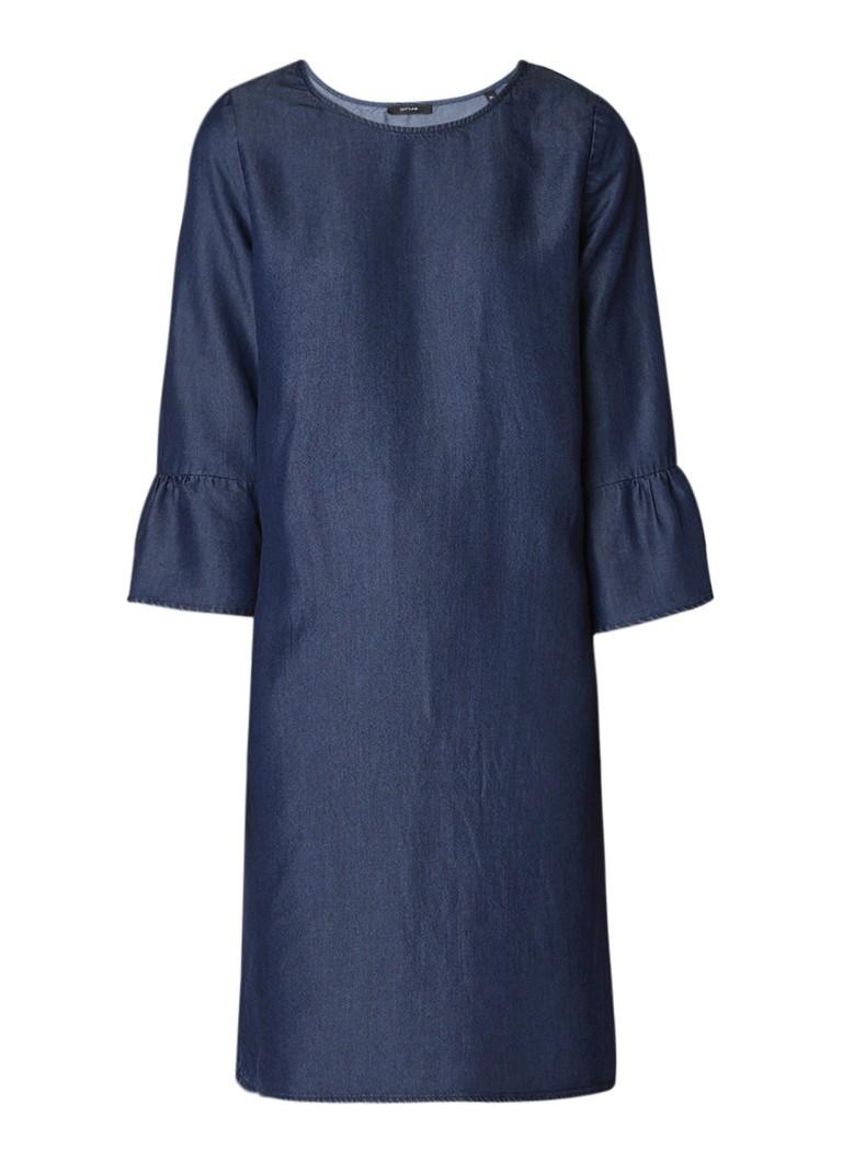 Opus Midi-jurk van chambray met klokmouw indigo