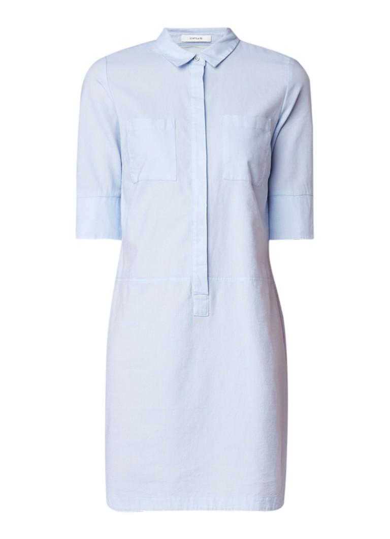 Opus Willmar blousejurk van katoen met borstzak lichtblauw