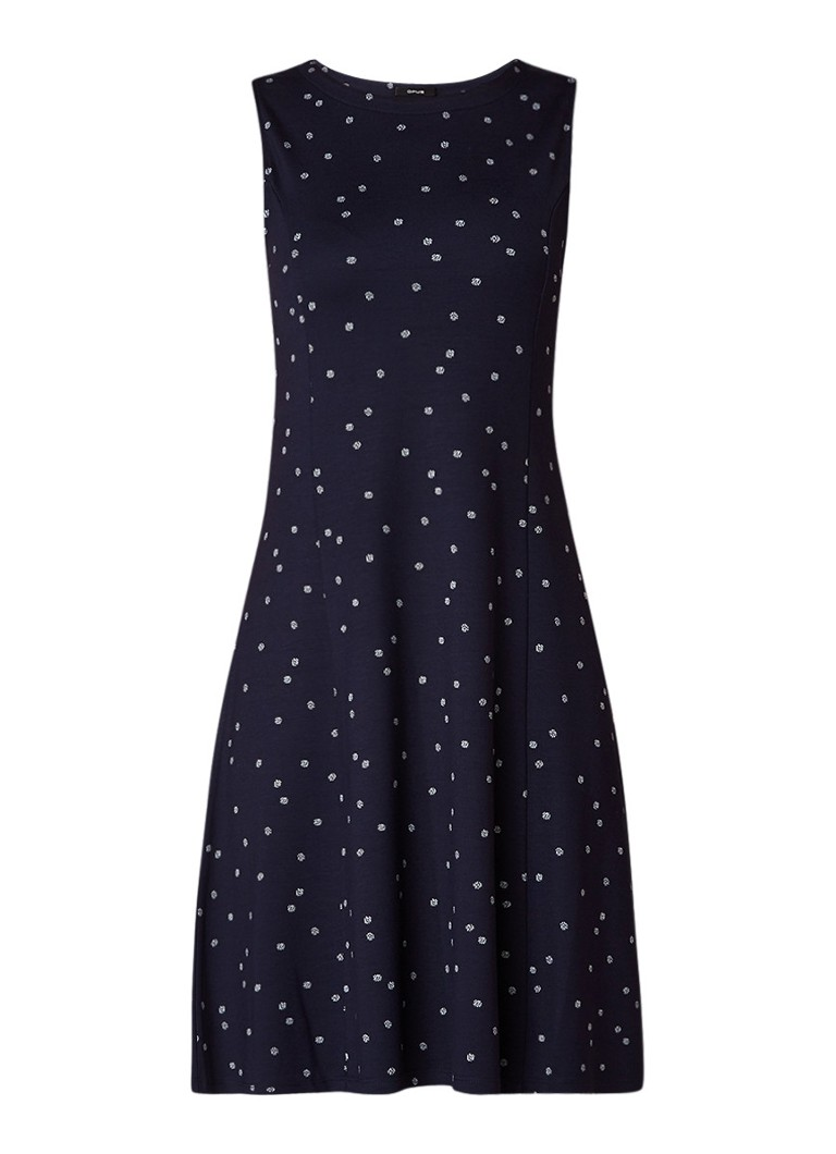 Opus Wenkey mouwloze jurk met bloemendessin donkerblauw