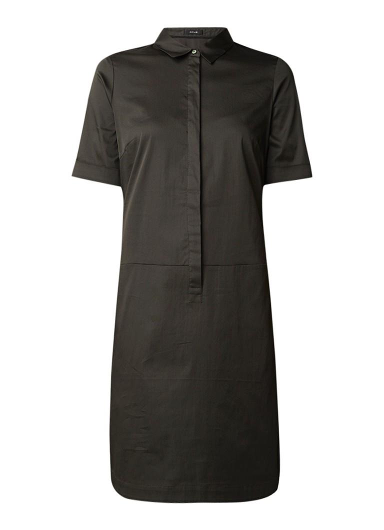 Opus Willmari blousejurk met blinde knoopsluiting en stretch donkergroen