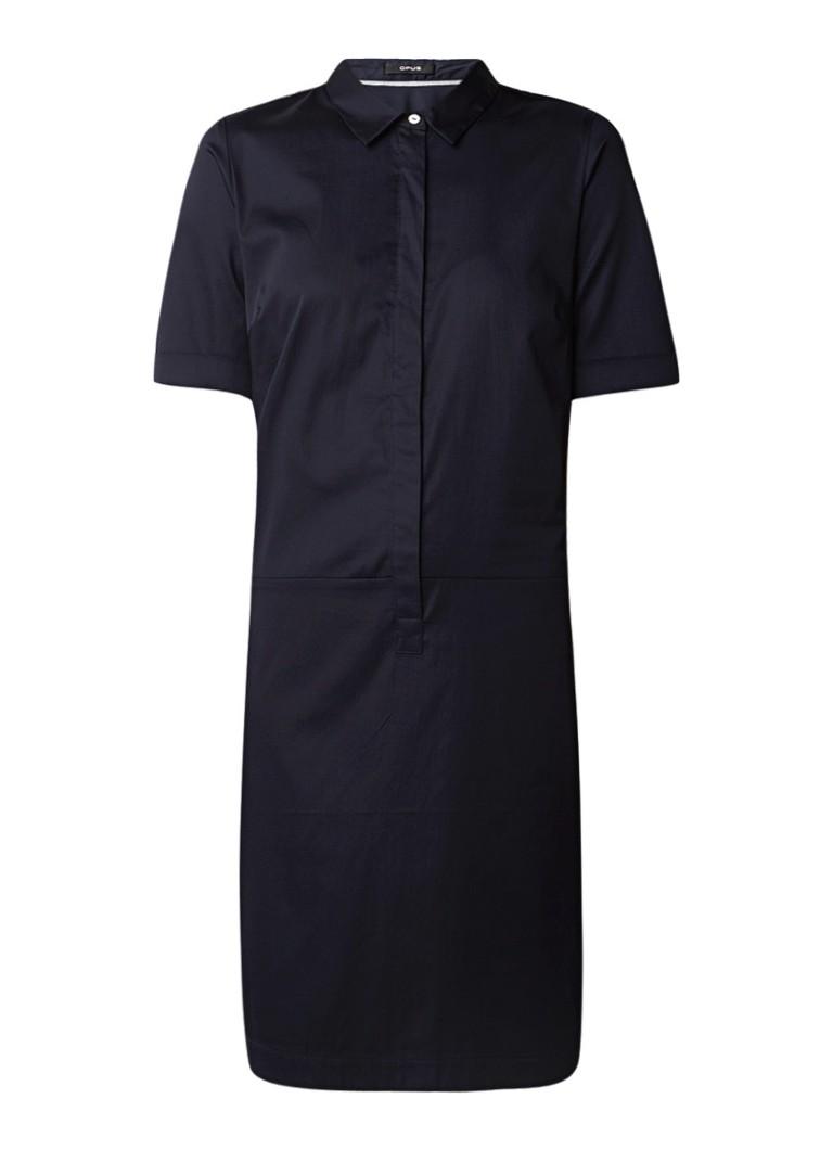 Opus Willmari blousejurk met blinde knoopsluiting en stretch donkerblauw