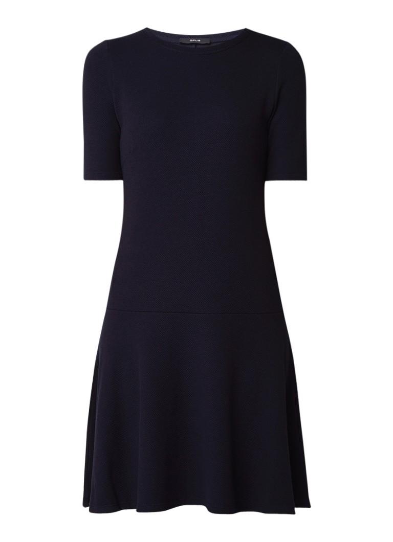 Opus Wellina A-lijn jurk met ingebreid dessin en volant donkerblauw