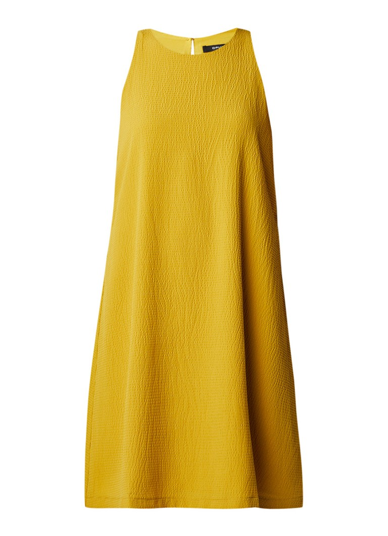 Opus Weria A-lijn jurk met structuur okergeel