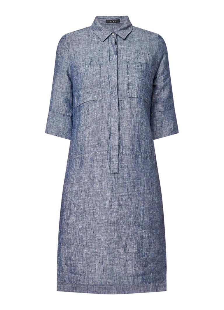 Opus Wilmar tuniekjurk van linnen blauwgrijs