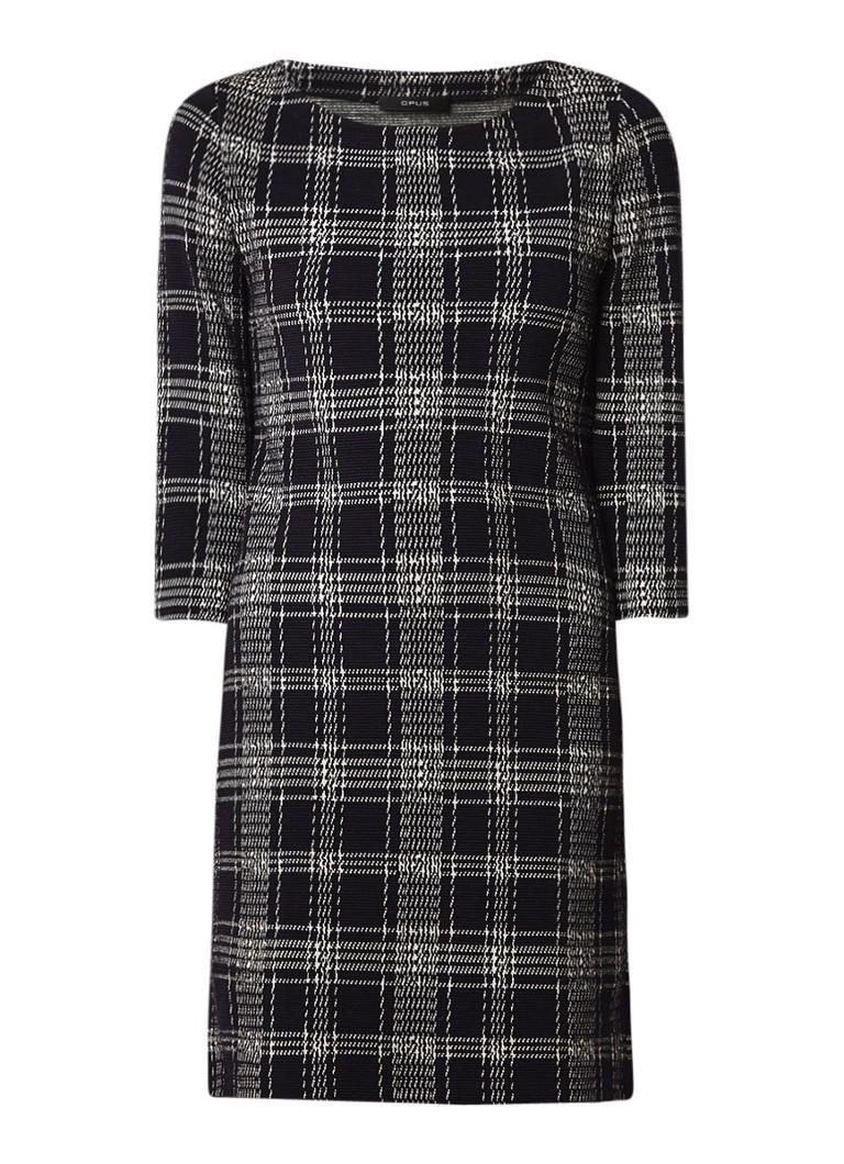 Opus Wonka check midi-jurk met driekwart mouw en ruitdessin donkerblauw