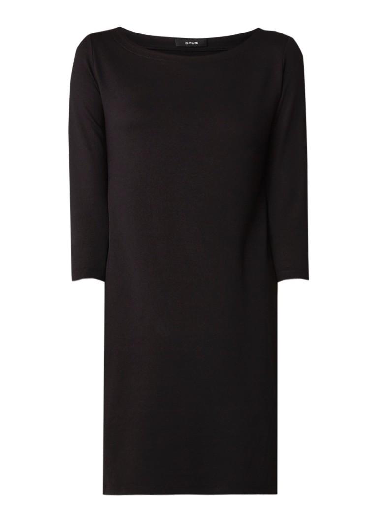 Opus Wonka loose fit mini-jurk met driekwart mouw zwart