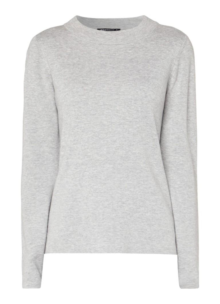 Expresso Aceline pullover met gemêleerde look en splits zwart