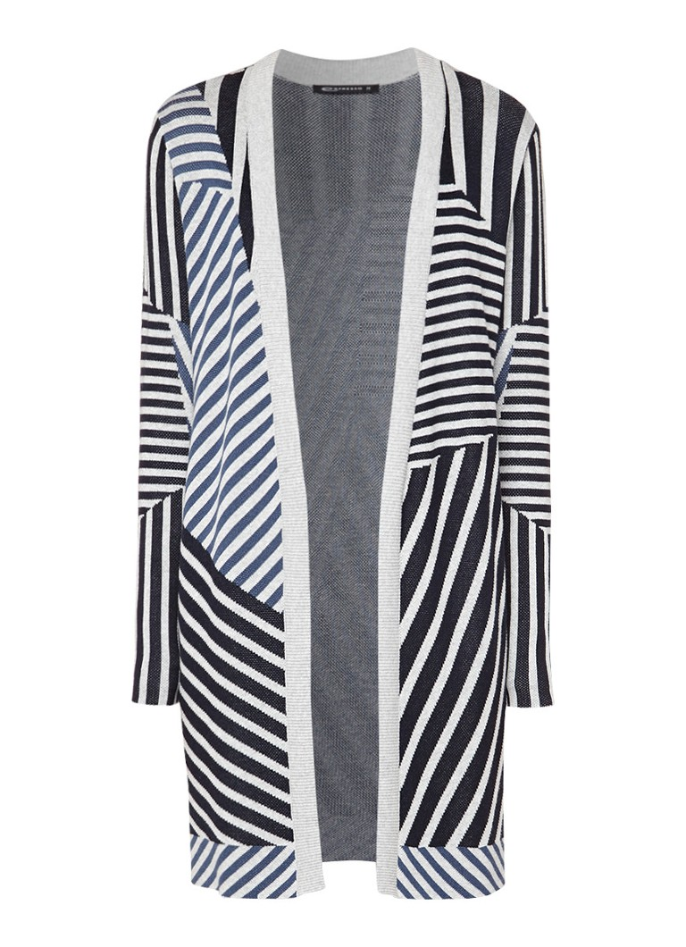 Expresso Amber vest in katoenblend met streepdessin zwart