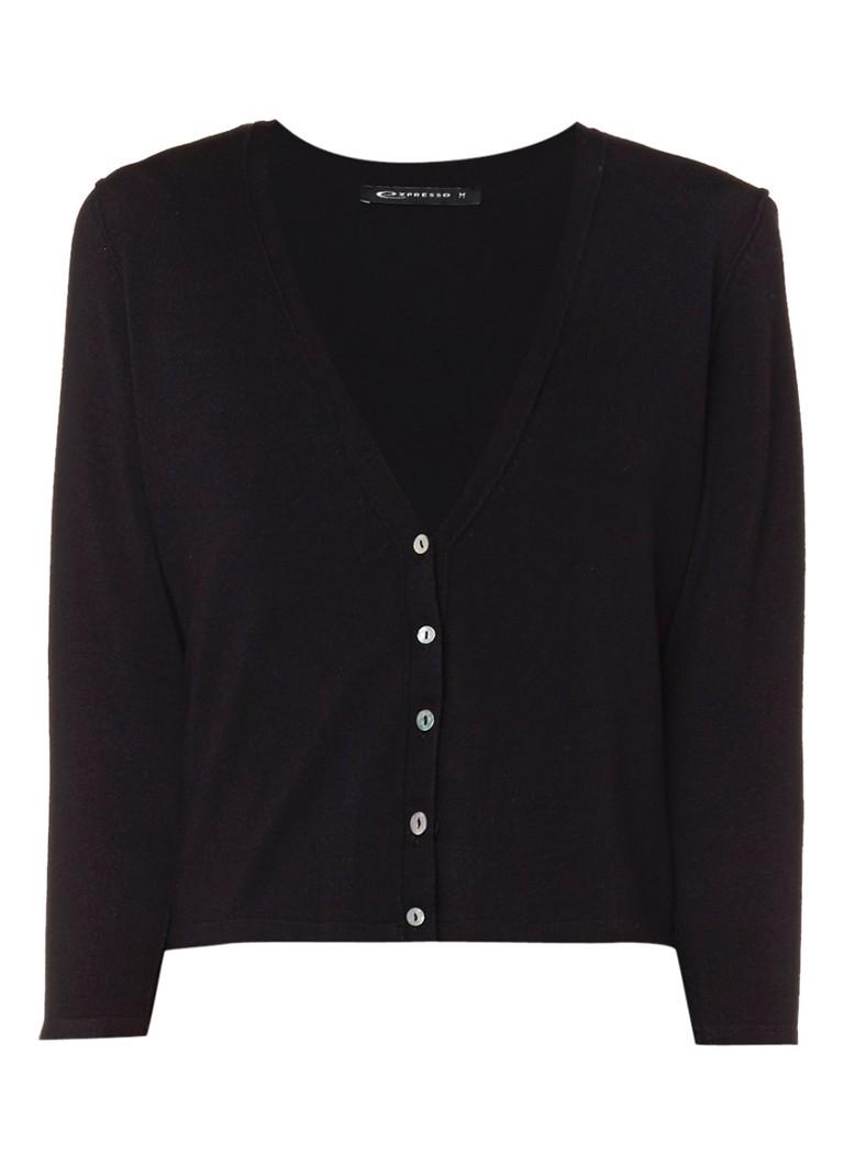 Expresso Bea fijngebreid vest met driekwartsmouwen zwart