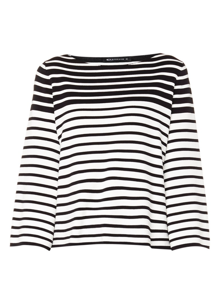 Expresso Dbella pullover met streepdessin en driekwartsmouwen zwart