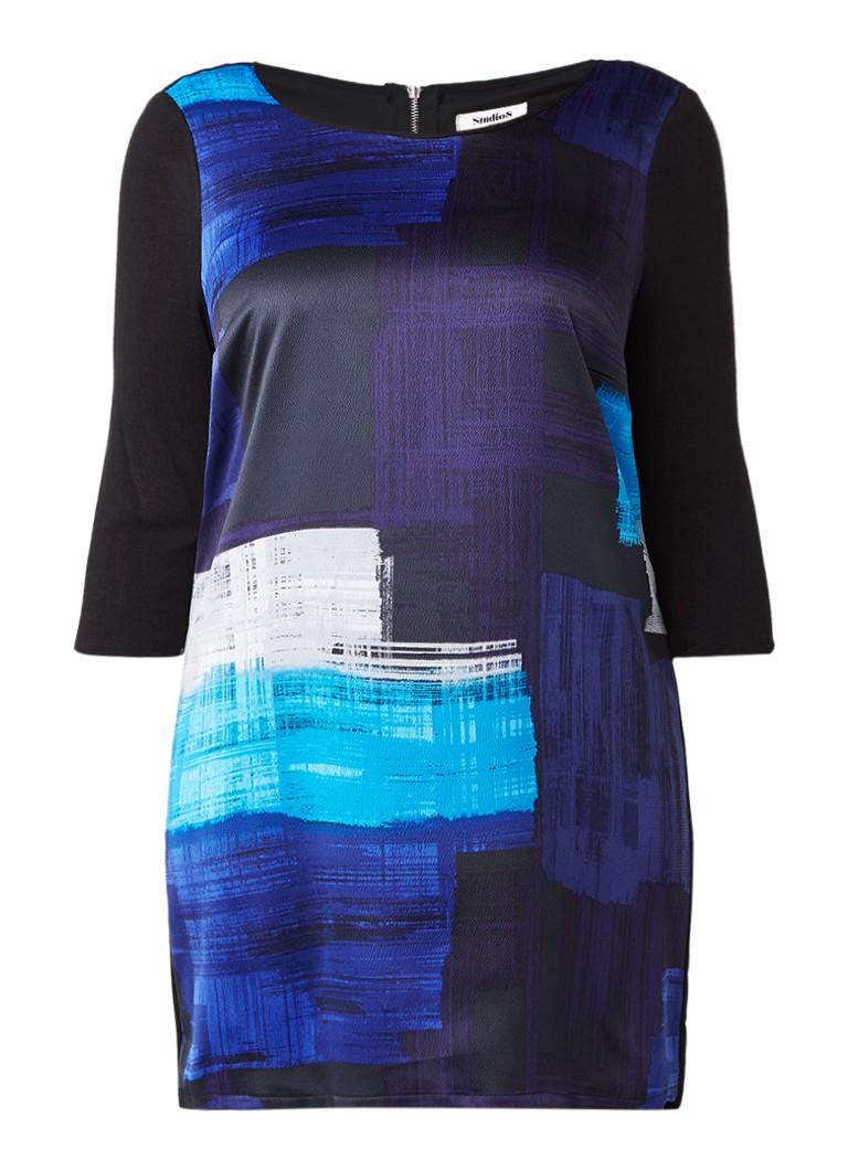 Studio 8 Jenny tuniekjurk met geprinte voorzijde donkerblauw