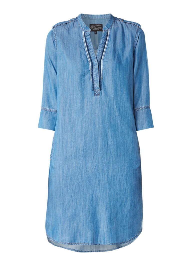 Expresso Freesia tuniekjurk met denim look indigo
